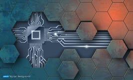 Microchip en grunge zeshoekentextuur Stock Illustratie