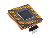 Microchip Evolution. Close view of a computer cpu and old micro chip. Isolated on white Stock Photography