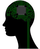 Microchip head. Illustration of head with microchip and circuit Royalty Free Stock Photos