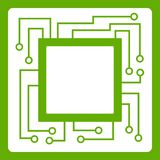 Microchip icon green. Microchip icon white isolated on green background. Vector illustration Royalty Free Stock Photo