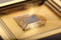 Microchip inside. Closeup with bounding pads Royalty Free Stock Images
