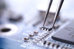 Microchip installation Royalty Free Stock Photo