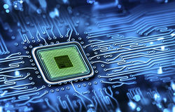 Microchip integrated on motherboard. Abstract microchip integrated on motherboard Stock Photography