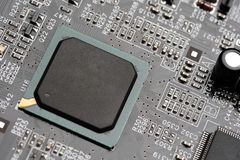 Microchip integrated on motherboard Stock Images