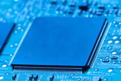 Microchip integrated on motherboard Royalty Free Stock Photo