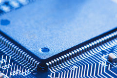 Microchip integrated on motherboard Stock Photo