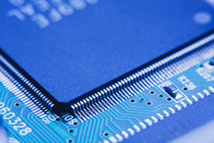 Microchip integrated on motherboard Royalty Free Stock Images