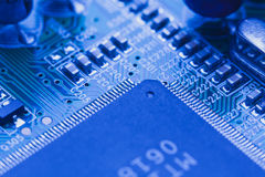 Microchip integrated on motherboard Royalty Free Stock Photography