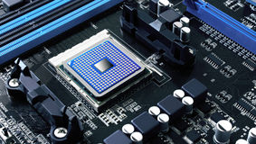 Microchip. Integrated motherboard component,data and information storage, technology concept Stock Photos