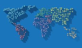 Microchip largo de la sombra del mapa del mundo stock de ilustración