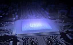Microchip. Light in the computer chip Royalty Free Stock Photo