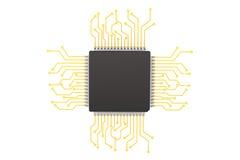 Microchip met kring stock foto
