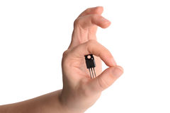 Microchip. Microelectronics and nanotechnology concept Royalty Free Stock Photo
