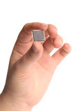 Microchip. Microelectronics and nanotechnology concept Stock Photos