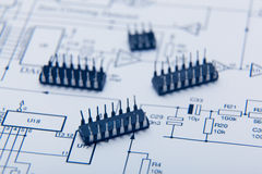 Microchip on one diagram Royalty Free Stock Photos