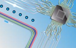 Microchip op eenvoudige blauwe achtergrond Royalty-vrije Stock Afbeelding