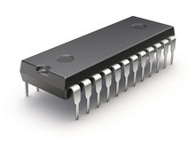 Microchip op witte achtergrond Royalty-vrije Stock Afbeelding