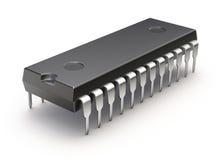 Microchip på vit bakgrund Royaltyfri Bild