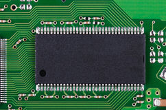 Microchip and pcb macro Royalty Free Stock Image
