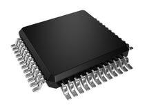 Microchip preto do processador central no fundo branco Imagem de Stock