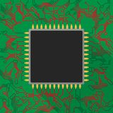 Microchip processor on green printed circuit board with red ligh. T Stock Images