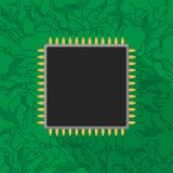 Microchip processor on green printed circuit board. Vector illustration Stock Images