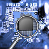 Microchip searching. Motherboard with microchip and magnifying glass Stock Illustration