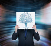 Microchip tree. Businessman holding poster with microchip tree Royalty Free Stock Photography