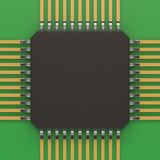 Microchip unit on green plate. Computer chipset circuit. Computer hardware parts concept. Technology, electronic industry, research and development, future Stock Image