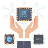 Microchip vector illustration isolated. Eps 10 Royalty Free Stock Photo
