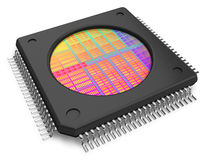Microchip with visible crystal Stock Photos
