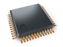 Microchip on white background Royalty Free Stock Images