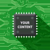 Microchip your content flat background Royalty Free Stock Image