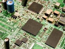 Microchips on a circuit board Royalty Free Stock Photography