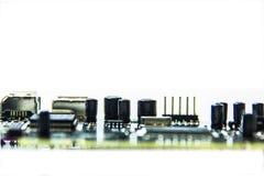 Microchips en transistors stock afbeelding