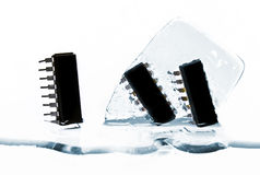 Microchips in ice Stock Images