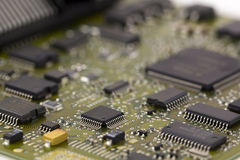 Microchips in a motherboard Stock Photo
