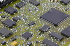 Microchips in a motherboard Stock Images