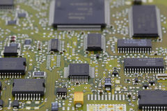 Microchips in a motherboard Royalty Free Stock Images