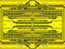 Microcircuit électronique jaune. Fond. Photo stock