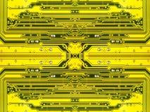 Microcircuit électronique jaune. Fond. Images libres de droits
