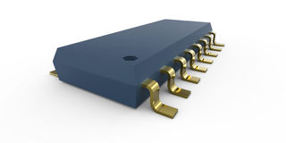 Microcircuit. Chip hardware on white Stock Photography
