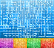Microcircuit background. Vector abstract bacground design with electronic circuits and color alternatives Stock Image