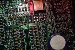 Microcircuit with battery and BIOS memory Royalty Free Stock Photo