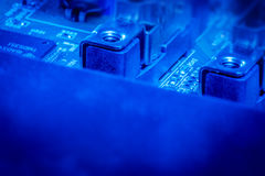 Microcircuit board in blue color Royalty Free Stock Photography