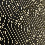 Microcircuit chip dimensional abstract background. Microcircuit chip dimensional scheme over black surface as technology and science abstract background Stock Photography