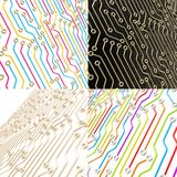 Microcircuit chip dimensional scheme background. Microcircuit chip dimensional scheme as technology and science abstract background, set of four Stock Image