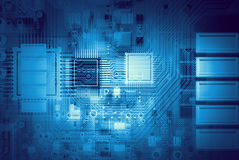 Microcircuit digital background . Mixed media Royalty Free Stock Photography