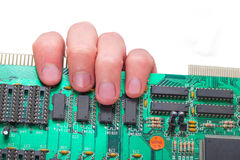 Microcircuit on a hand Royalty Free Stock Photo