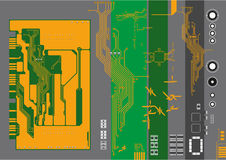 Microcircuito y elementos ilustración del vector